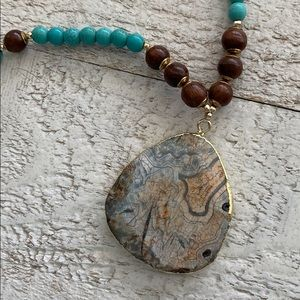 NWOT Earth Stone & Turquoise & Wood Bead Necklace